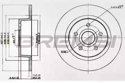 Задний тормозной диск на Форд Транзит Конект 'BREMSI DBB497S'.