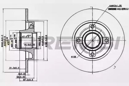 Задний тормозной диск на Ситроен С4 Гранд Пикассо 'BREMSI DBB523S'.
