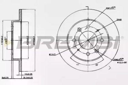Задний тормозной диск на Киа Церато 'BREMSI DBB541S'.