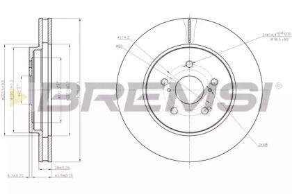 Вентильований передній гальмівний диск 'BREMSI DBB544V'.