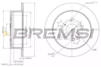 Задний тормозной диск на Лексус РХ 'BREMSI DBB545S'.