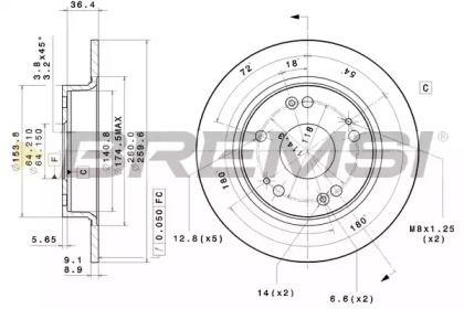 Задний тормозной диск на Хонда Сивик 'BREMSI DBB558S'.