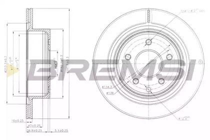 Вентилируемый задний тормозной диск на NISSAN QASHQAI 'BREMSI DBB579V'.