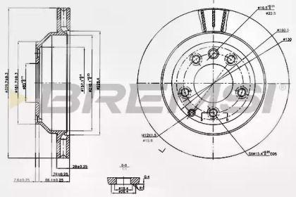 Вентилируемый задний тормозной диск на Ауди Ку7 'BREMSI DBB580V'.