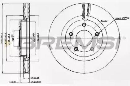 Вентильований передній гальмівний диск 'BREMSI DBB589V'.