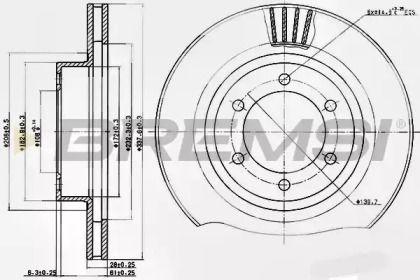 Вентилируемый передний тормозной диск на Лексус Джи Икс 'BREMSI DBB594V'.
