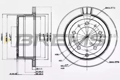 Вентилируемый задний тормозной диск на Тайота Ленд Крузер 'BREMSI DBB597V'.