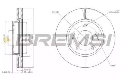 Вентилируемый передний тормозной диск на Митсубиси Спейс Вагон 'BREMSI DBB599V'.