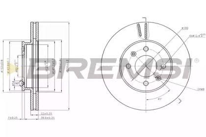 Вентилируемый передний тормозной диск на Киа Рио 'BREMSI DBB603V'.