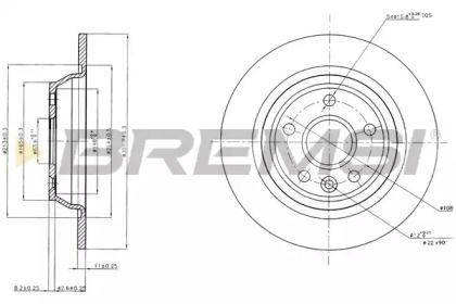 Задний тормозной диск на RANGE ROVER EVOQUE 'BREMSI DBB616S'.