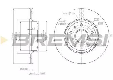 Вентилируемый передний тормозной диск на FIAT SEDICI 'BREMSI DBB620V'.