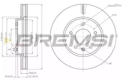 Вентилируемый передний тормозной диск на CHEVROLET CAPTIVA 'BREMSI DBB625V'.