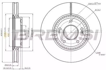 Вентилируемый передний тормозной диск на KIA OPTIMA 'BREMSI DBB630V'.