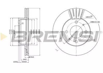 Вентилируемый передний тормозной диск на HYUNDAI ACCENT 'BREMSI DBB632V'.