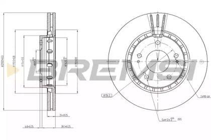 Вентилируемый передний тормозной диск на Ситроен С кроссер 'BREMSI DBB642V'.