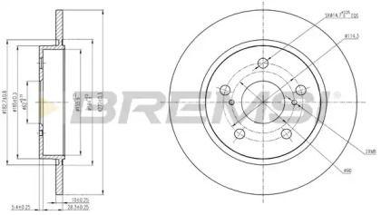 Задний тормозной диск на Тайота Королла 'BREMSI DBB645S'.