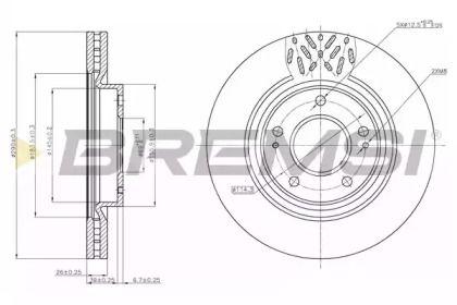 Вентилируемый передний тормозной диск на MITSUBISHI GRANDIS 'BREMSI DBB659V'.