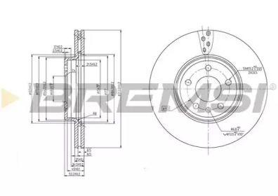 Вентилируемый передний тормозной диск на Ауди Ку5 'BREMSI DBB663V'.
