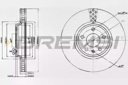 Вентилируемый передний тормозной диск на AUDI Q5 'BREMSI DBB664V'.