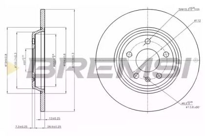 Задний тормозной диск на AUDI A7 'BREMSI DBB666S'.