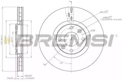 Вентилируемый передний тормозной диск на Ситроен ДС5 'BREMSI DBB676V'.