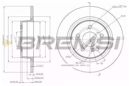 Задний тормозной диск на Мерседес С класс 'BREMSI DBB691S'.