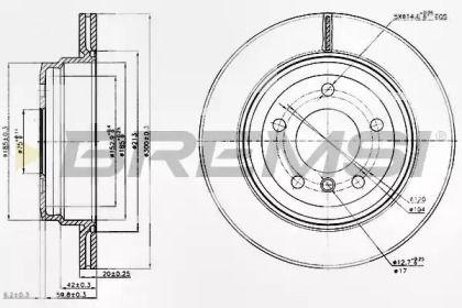 Вентилируемый задний тормозной диск на БМВ Х1 'BREMSI DBB697V'.
