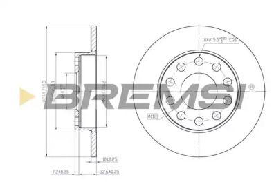 Задний тормозной диск на SEAT EXEO 'BREMSI DBB709S'.