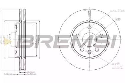 Вентильований передній гальмівний диск 'BREMSI DBB721V'.