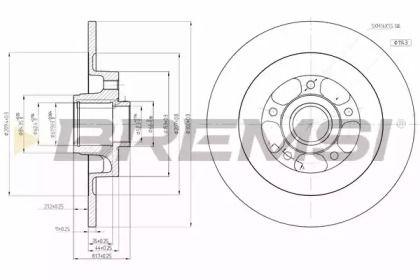 Задний тормозной диск на OPEL INSIGNIA 'BREMSI DBB725S'.