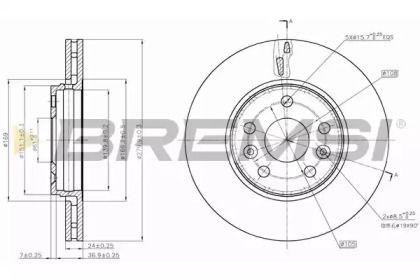 Вентилируемый передний тормозной диск на OPEL INSIGNIA 'BREMSI DBB733V'.