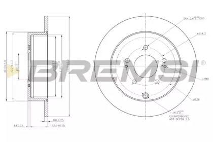 Задний тормозной диск на OPEL INSIGNIA 'BREMSI DBB737S'.
