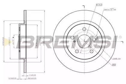 Задній гальмівний диск 'BREMSI DBB755S'.