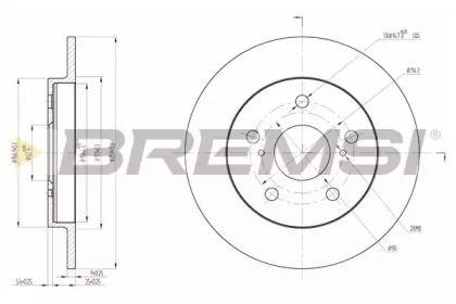 Задний тормозной диск на TOYOTA COROLLA 'BREMSI DBB788S'.