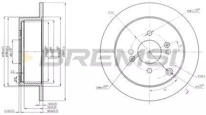 Задний тормозной диск на Хендай Акцент 'BREMSI DBB794S'.