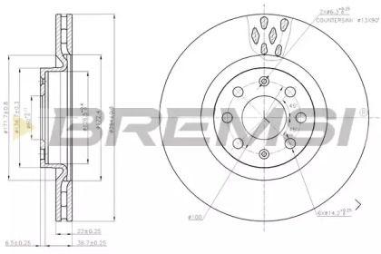 Задний тормозной диск на Опель Инсигния 'BREMSI DBB804S'.