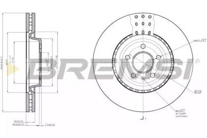 Вентилируемый передний тормозной диск на Ауди А7 'BREMSI DBB997V'.