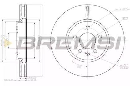 Вентилируемый передний тормозной диск на OPEL CASCADA 'BREMSI DBC191V'.