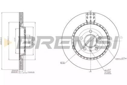 Вентилируемый задний тормозной диск на AUDI A7 'BREMSI DBC383V'.