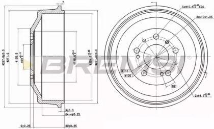 Задний тормозной барабан на CITROEN C25 'BREMSI DR5261'.