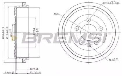 Задний тормозной барабан BREMSI DR5594 рисунок 0