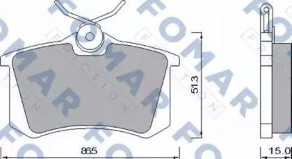 Тормозные колодки на VOLKSWAGEN PASSAT 'FOMAR FRICTION FO 465381'.