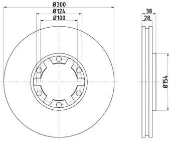 Вентилируемый тормозной диск на Инфинити Ку икс 4 'NISSHINBO ND2026K'.
