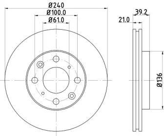 Вентилируемый тормозной диск NISSHINBO ND8022.