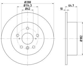 Тормозной диск на Тайота Хайлендер NISSHINBO ND1001K.