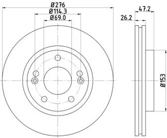 Вентилируемый тормозной диск на Хендай Галлопер 'NISSHINBO ND6039'.