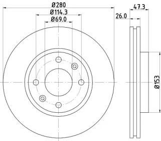 Вентилируемый тормозной диск на Киа Опирус 'NISSHINBO ND6010K'.