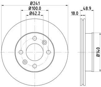 Вентилируемый тормозной диск NISSHINBO ND6018K.