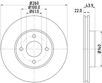 Вентилируемый тормозной диск NISSHINBO ND2035K.