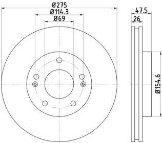 Вентилируемый тормозной диск NISSHINBO ND6027K.